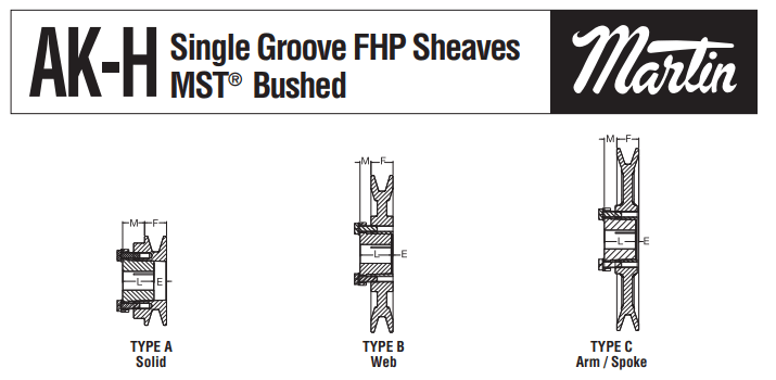 FHP Sheaves AK-H Profiles in Solid, Web & Spoke Types
