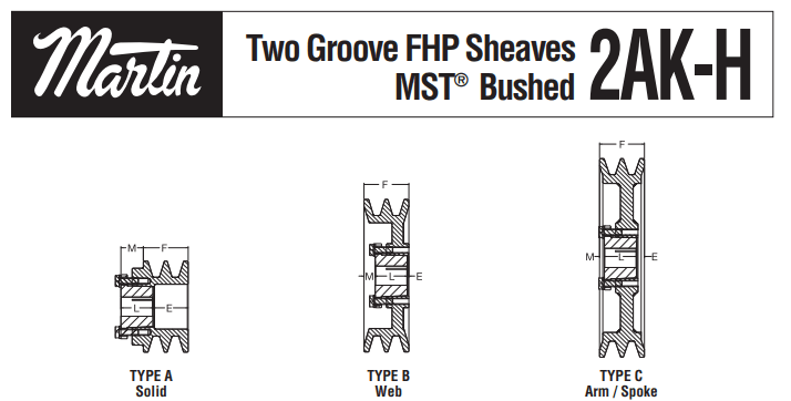 FHP Sheaves 2AK-H Profiles in Solid, Web & Spoke Types