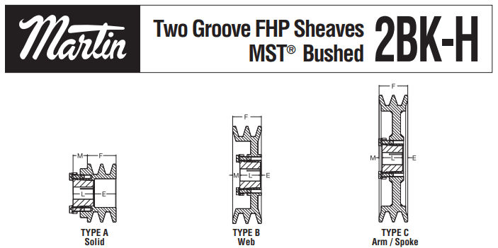 FHP Sheaves 2BK-H Profiles in Solid, Web & Spoke Types