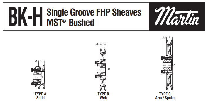FHP Sheaves BK-H Profiles in Solid, Web & Spoke Types