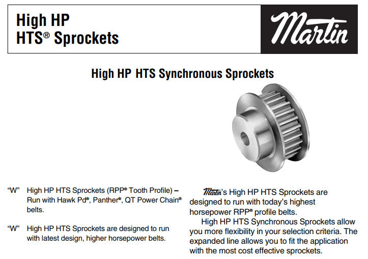 High HP HTS Synchronous Sprockets Catalog